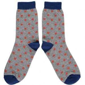 Grey and Orange Dot Ankle Socks