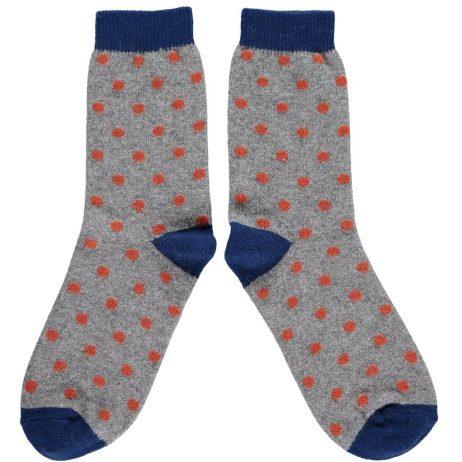 Grey and Orange Dot Ankle Socks