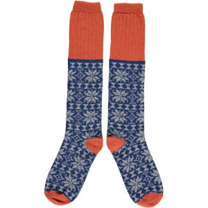 Navy & Grey Fair Isle Knee Socks by Catherine Tough