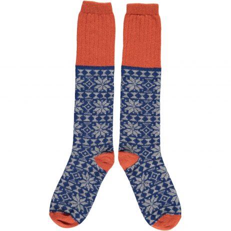 Navy & Grey Fair Isle Knee Socks by Catherine Tough