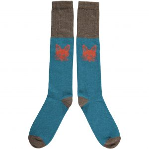 Lambswool Teal Fox Knee Socks by Catherine Tough