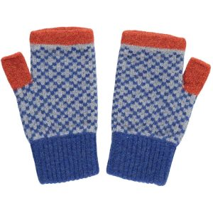 blue and orange cross wrist warmers by Catherine Tough