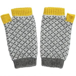 yellow cross wrist warmers by Catherine Tough