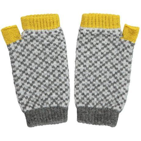 yellow cross wrist warmers by Catherine Tough