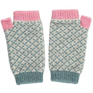 Lambswool sage and pink cross wrist warmers by Catherine Tough