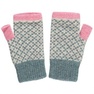 sage and pink cross wrist warmers by Catherine Tough
