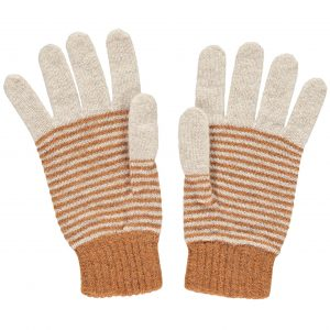 Lambswool Gold & Oat Stripe Gloves by Catherine Tough