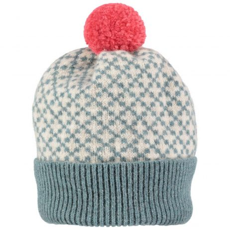 sea green and oat cross hat by Catherine Tough