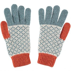 sea green and oat cross gloves by Catherine Tough