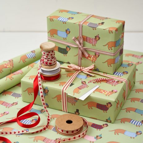 Dashing Dachshund Gift Wrap by Mary Kilvert