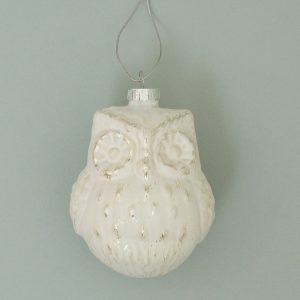 White Glass Owl Christmas Decoration