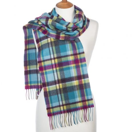 Pale Blue Check Merino Scarf by Avoca