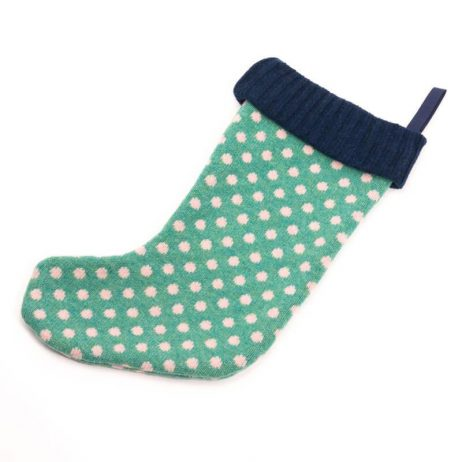 Green Dot Knitted Christmas Stocking