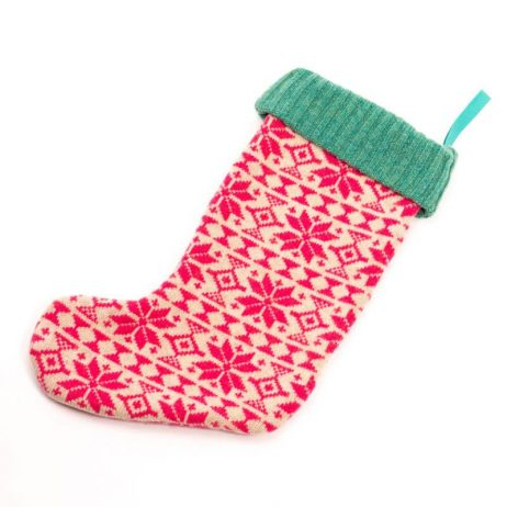 Pink Fair Isle Knitted Christmas Stocking