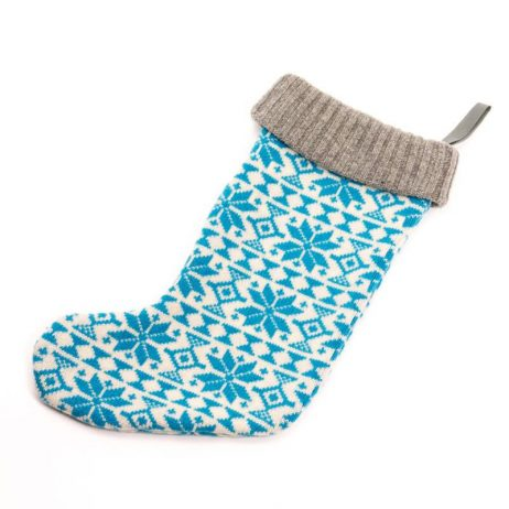 Blue Fair Isle Knitted Christmas Stocking