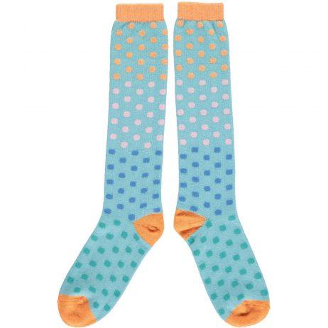 Aqua Multi Dots Knee Socks by Catherine Tough