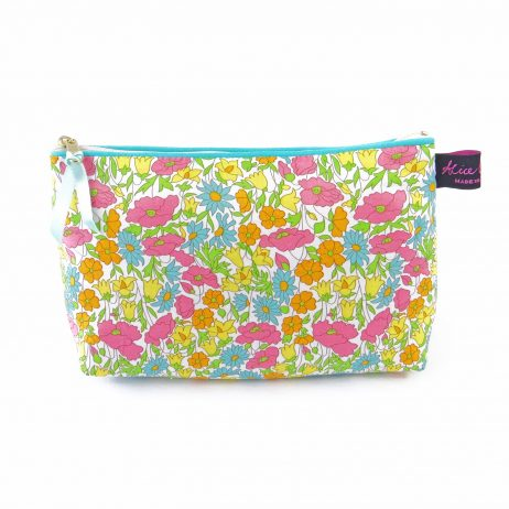 Yellow Liberty Print Cosmetic Bag