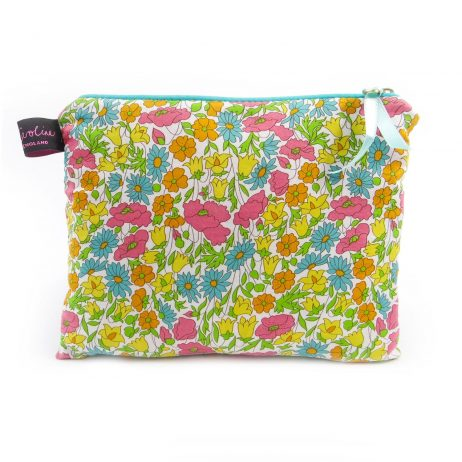 Poppy and Daisy Yellow Liberty Print Medium Flat Purse