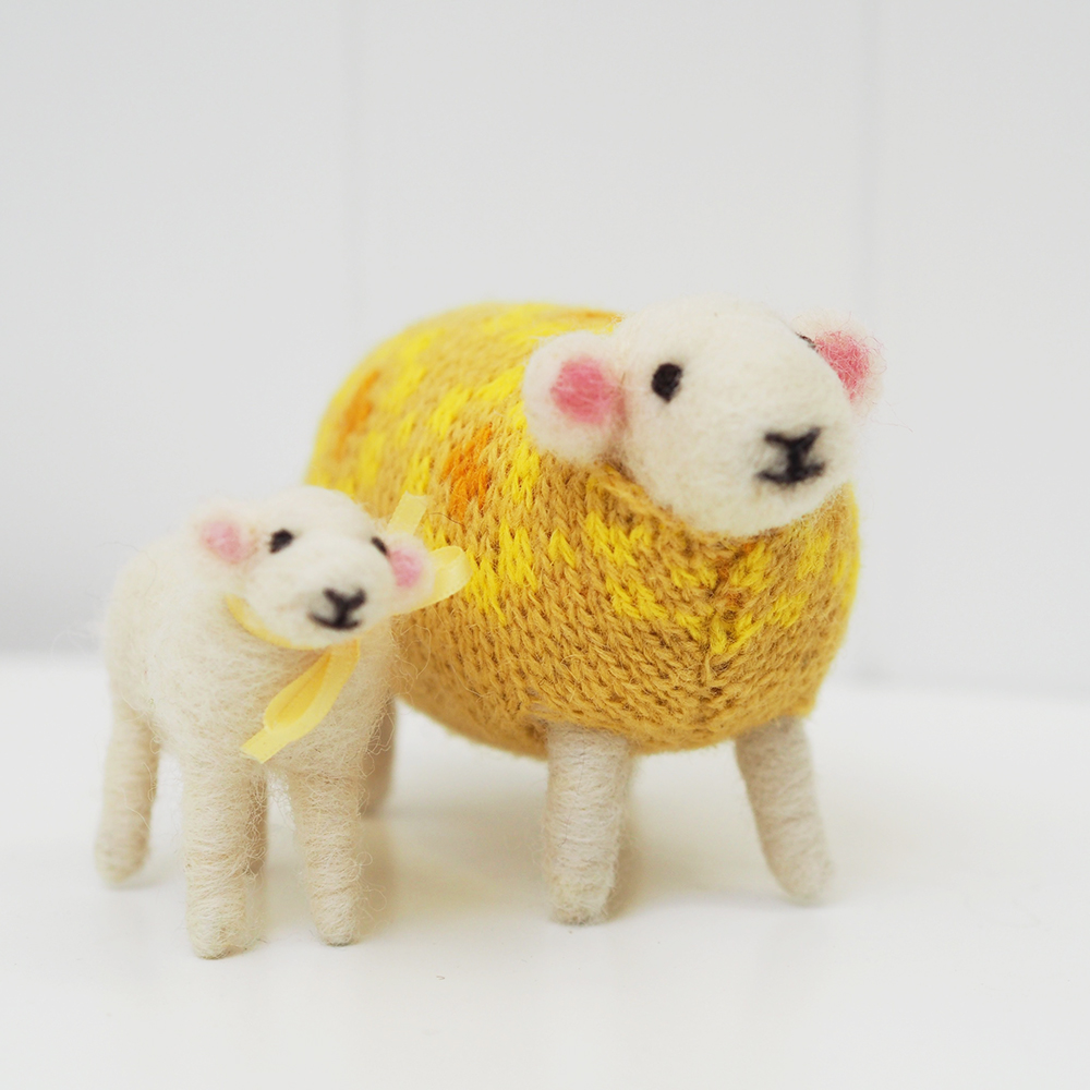 Daffodil Felted Sheep and Little Lamb