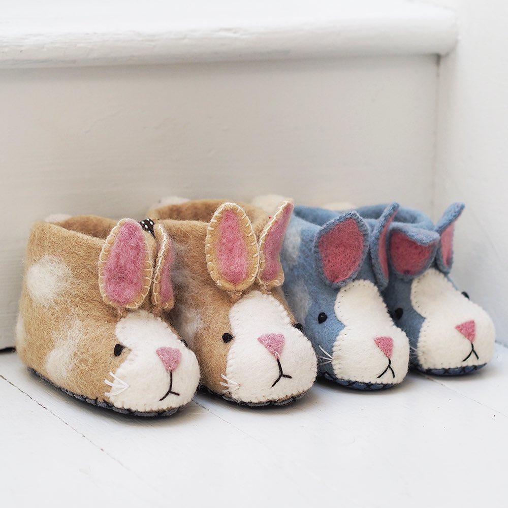 Children's Felted Rabbit Slippers