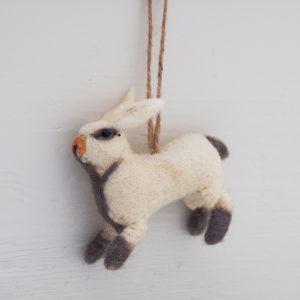 Cream Felted Rabbit Decorations