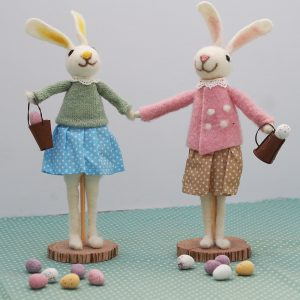 Standing Rabbits in Pink and Blue