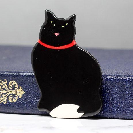 Ceramic Black Cat Brooch