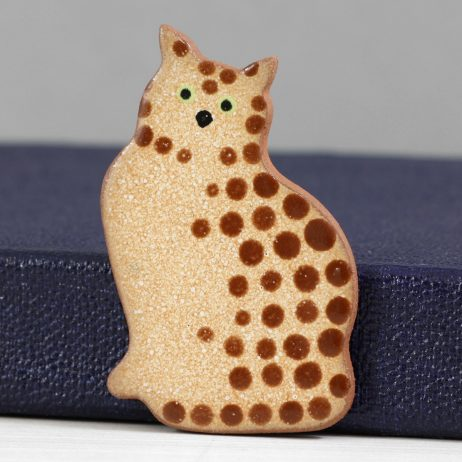Ceramic Tabby Cat Brooch