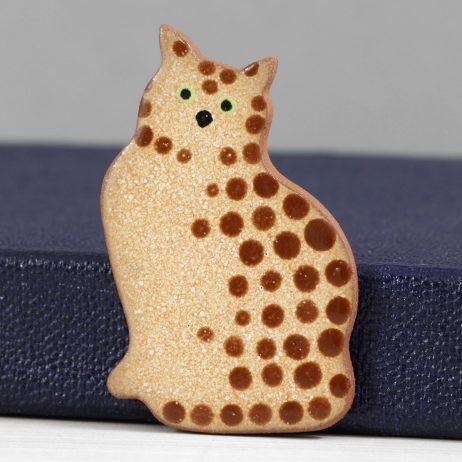 Ceramic Tabby Cat Brooch