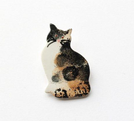 Ceramic Tortoiseshell Cat Brooch