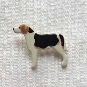 Ceramic Fox Hound Brooch