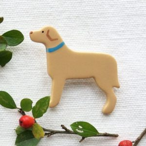Ceramic Yellow Labrador Brooch
