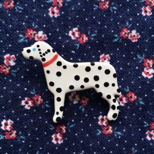 Ceramic Dalmatian Brooch