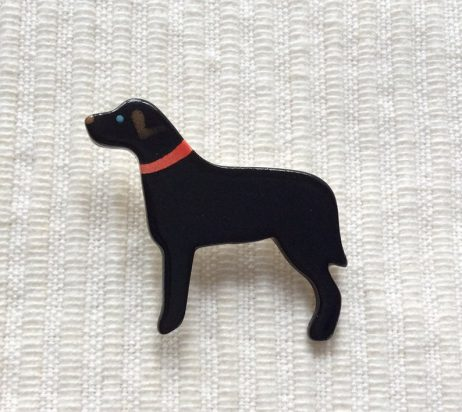 Ceramic Black Labrador Brooch