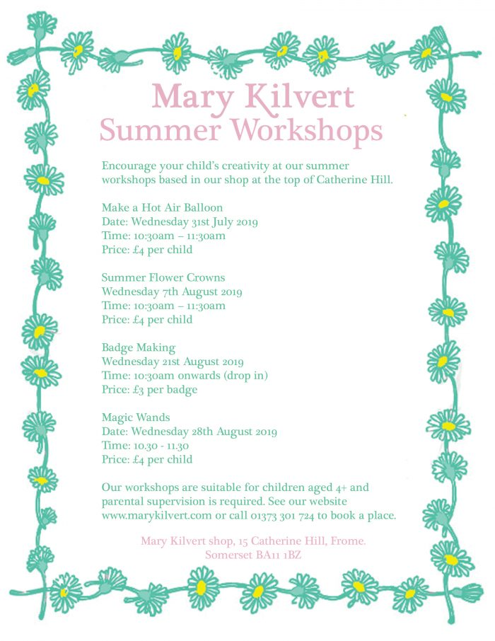 Summer Workshops at Mary Kilvert