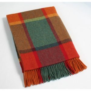 Orange Tartan Throw in 100% Lambswool by John Hanly