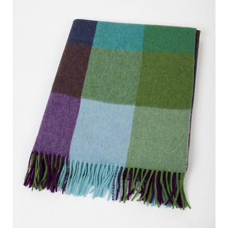 Green Block Throw in 100% Lambswool by John Hanly