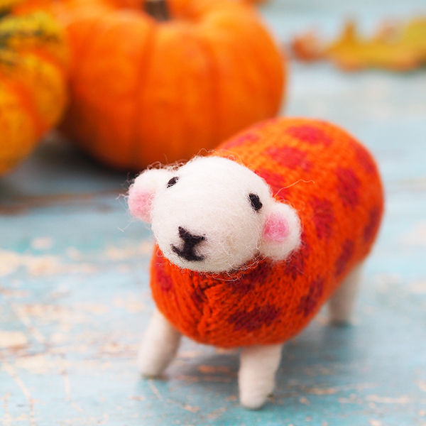 Pumpkin Felted Sheep by Mary Kilvert