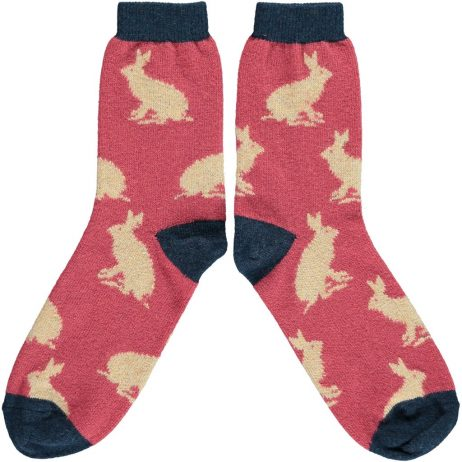 Lambswool Rabbit Ankle Socks - Raspberry by Catherine Tough
