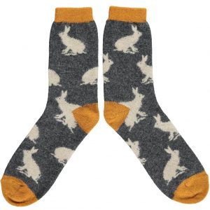 Lambswool Rabbit Socks - Charcoal by Catherine Tough