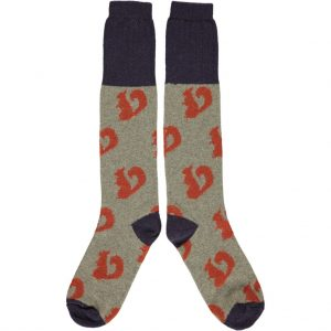 Lambswool Squirrel Knee Socks - Orange by Catherine Tough