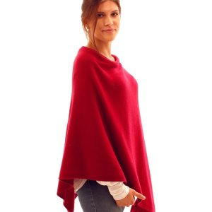 Garnet Red Cashmere Blend Poncho