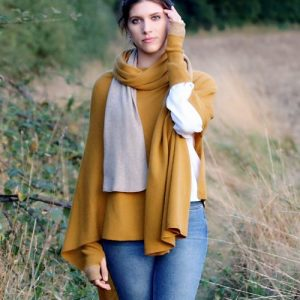Mustard Cashmere Blend Poncho