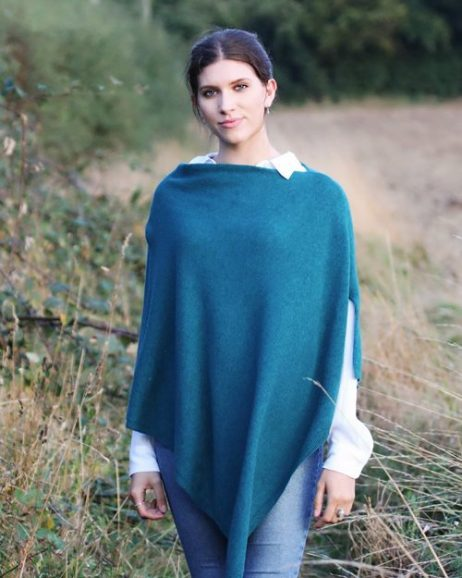 Peacock Green Cashmere Blend Poncho