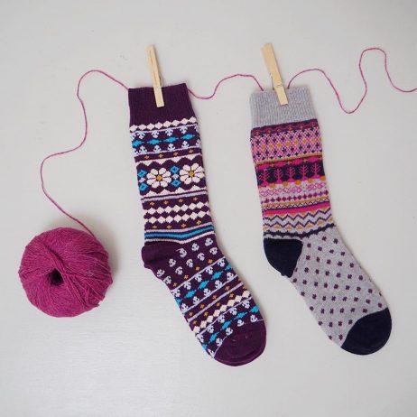 Viktoir Woollen Socks in Cyclamen