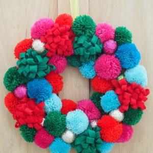 Large Pom Pom Wreath