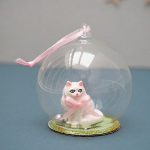 White Cat Globe Ornament