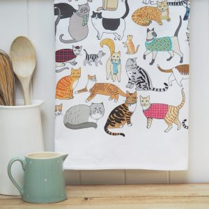 Crafty Cats Tea Towel - Mary Kilvert