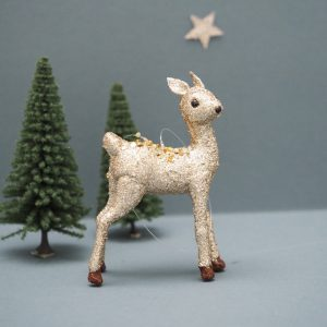 Gold Glitter Deer Decoration