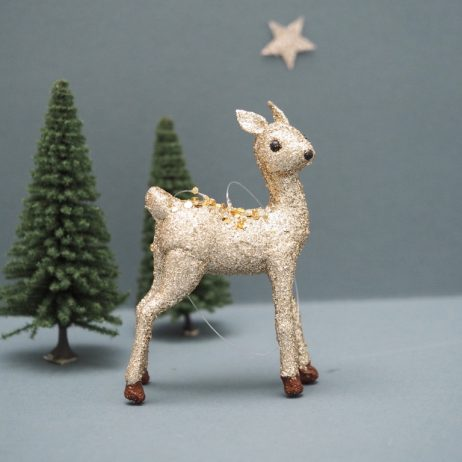 Gold Glitter Deer Decoration